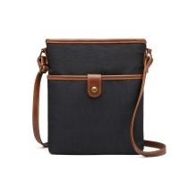 E6838-MISS LULU CANVAS ZIPPER CLOSURE SHOULDER BAG CROSS BODY BAG BLACK