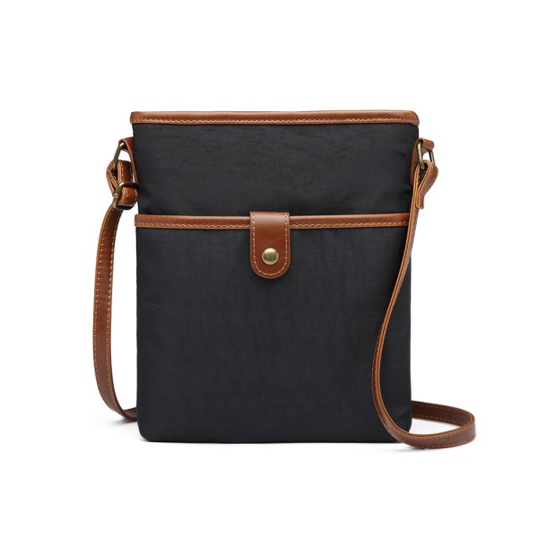 E6838 - Miss Lulu Washed Nylon Pouch Cross Body Bag - Black
