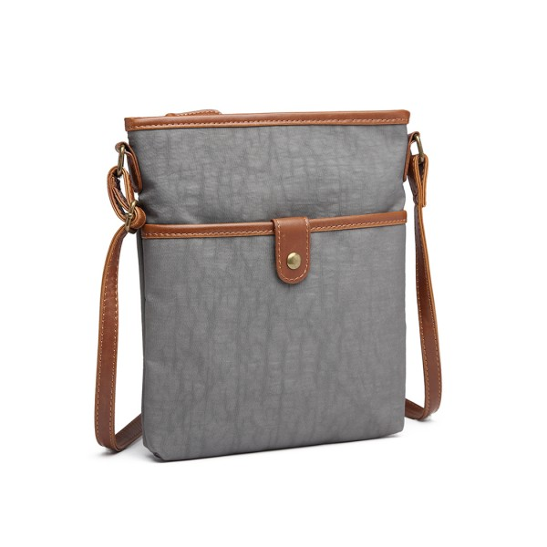 E6838 - Miss Lulu Washed Nylon Pouch Cross Body Bag - Grey