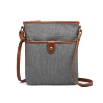 E6838-MISS LULU CANVAS ZIPPER CIERRE BOLSA DE HOMBRO CROSS BODY BAG GRIS