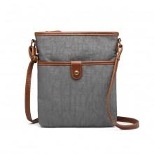E6838 - Miss Lulu Washed Nylon Pouch Cross Body Bag - Grey