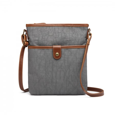 E6838-MISS LULU CANVAS ZIPPER CLOSURE SHOULDER BAG CROSS BODY BAG GREY