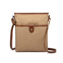 E6838-MISS LULU CANVAS ZIPPER CIERRE BOLSA DE HOMBRO CROSS BODY BAG KHAKI