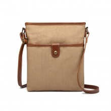 E6838-MISS LULU CANVAS ZIPPER CLOSURE SHOULDER BAG CROSS BODY BAG KHAKI