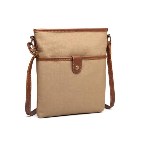 E6838 - Miss Lulu Washed Nylon Pouch Cross Body Bag - Khaki