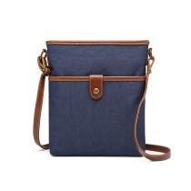 E6838-MISS LULU CANVAS ZIPPER CLOSURE SHOULDER BAG CROSS BODY BAG NAVY