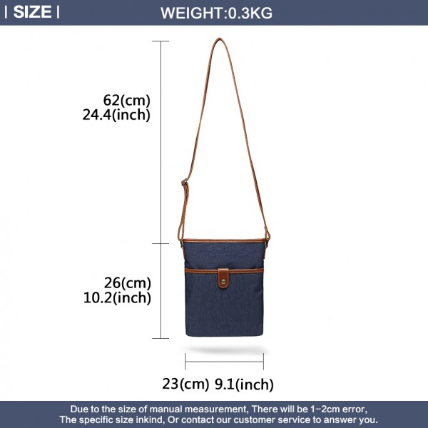 E6838 - Miss Lulu Washed Nylon Pouch Cross Body Bag - Navy