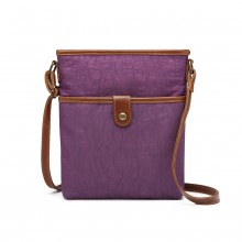 E6838 - Miss Lulu Washed Nylon Pouch Cross Body Bag - Purple