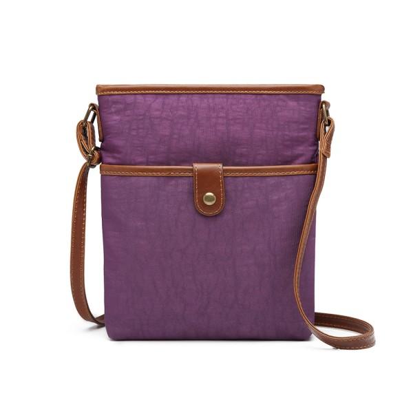E6838 - Miss Lulu Washed Nylon Pouch Cross Body Bag - Purple