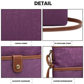 E6838-MISS LULU CANVAS ZIPPER CLOSURE SHOULDER BAG CROSS BODY BAG PURPLE