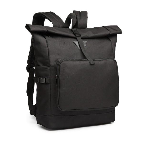 E6839-MISS LULU OXFORD CLOTH SINGLE COLOR PREPPY BACKPACK SCHOOL BAG BLACK