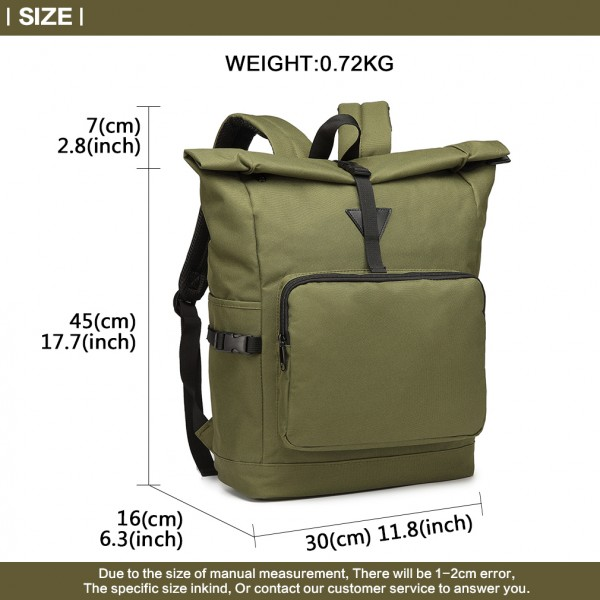 E6839-MISS LULU OXFORD CLOTH SINGLE COLOR PREPPY BACKPACK SCHOOL BAG GREEN