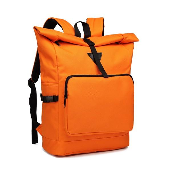 E6839-MISS LULU OXFORD CLOTH SINGLE COLOR PREPPY BACKPACK SCHOOL BAG ORANGE