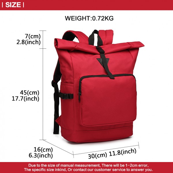 E6839-MISS LULU OXFORD CLOTH SINGLE COLOR PREPPY BACKPACK SCHOOL BAG RED