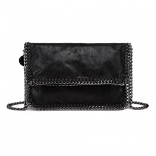 E6843 - Miss Lulu Leather Look Folded Metal Chain Clutch Shoulder Bag - Black