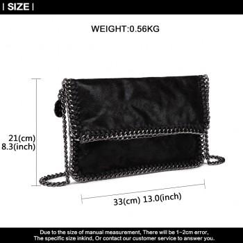 E6843-MISS LULU PU LEATHER FOLDED METAL CHAIN AROUND CLUTCH SHOULDER BAG BLACK