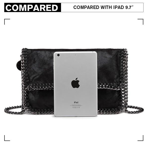 E6843 - Miss Lulu Leather Look Folded Metal Chain Clutch Shoulder Bag - Black