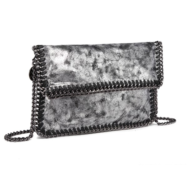 E6843 - Miss Lulu Leather Look Folded Metal Chain Clutch Shoulder Bag - Grey