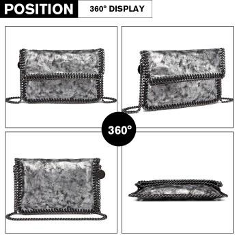 E6843-MISS LULU PU LEATHER FOLDED METAL CHAIN AROUND CLUTCH SHOULDER BAG GREY