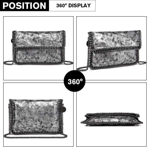 E6843 - Miss Lulu Leather Look Folded Metal Chain Clutch Shoulder Bag - Grey