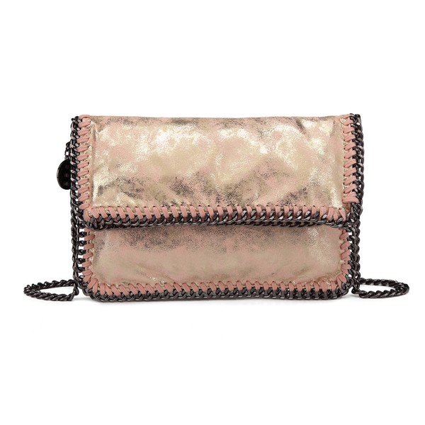 E6843 - Miss Lulu Leather Look Folded Metal Chain Clutch Shoulder Bag - Pink