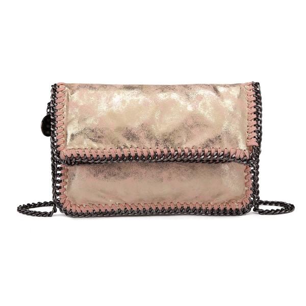E6843 - Miss Lulu Leather Look Folded Metal Chain Clutch Shoulder Bag - Pink