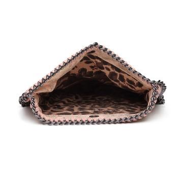 E6843-MISS LULU PU LEATHER FOLDED METAL CHAIN AROUND CLUTCH SHOULDER BAG PINK