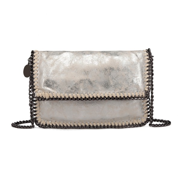 E6843 - Miss Lulu Leather Look Folded Metal Chain Clutch Shoulder Bag - Silver