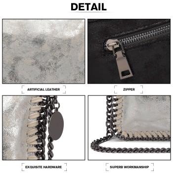 E6843-MISS LULU PU LEATHER FOLDED METAL CHAIN AROUND CLUTCH SHOULDER BAG SILVER