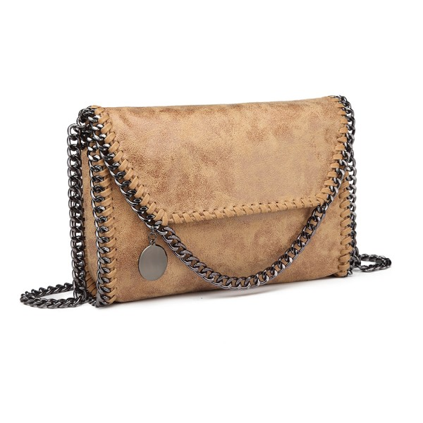 E6844 - Miss Lulu Leather Look Chain Fold-over Shoulder Bag - Apricot