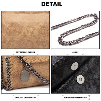E6844-MISS LULU PU LEATHER LADIES CHAIN AROUND HANDBAG SHOULDER BAG APRICOT