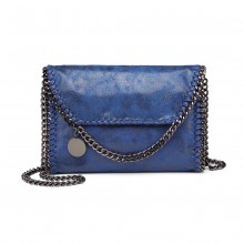 E6844 - Miss Lulu Leather Look Chain Fold-over Shoulder Bag - Blue