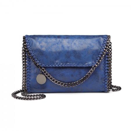 E6844-MISS LULU PU LEATHER LADIES CHAIN AROUND HANDBAG SHOULDER BAG BLUE