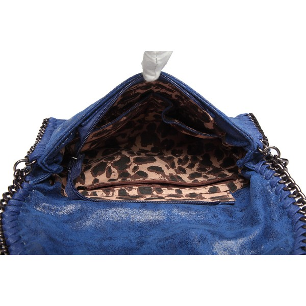 E6844 - Miss Lulu Leather Look Chain Fold-over Shoulder Bag - Blue