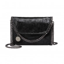 E6844 - Miss Lulu Leather Look Chain Fold-over Shoulder Bag - Black