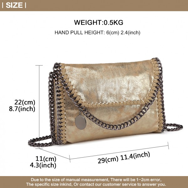 E6844 - Miss Lulu Leather Look Chain Fold-over Shoulder Bag - Gold