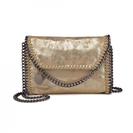 E6844-MISS LULU PU LEATHER LADIES CHAIN AROUND HANDBAG SHOULDER BAG GOLD