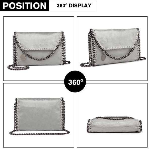 E6844 - Miss Lulu Leather Look Chain Fold-over Shoulder Bag - Grey