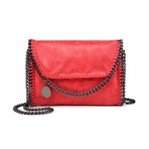 E6844-MISS LULU PU LEATHER LADIES CHAIN AROUND HANDBAG SHOULDER BAG RED