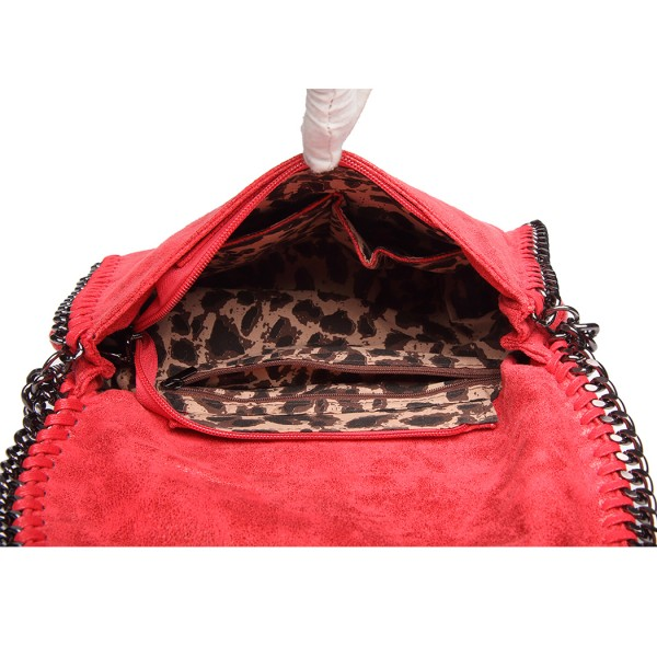 E6844 - Miss Lulu Leather Look Chain Fold-over Shoulder Bag - Red