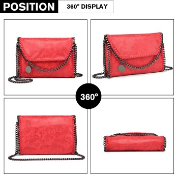 E6844-MISS LULU PU LEATHER LADIES CHAIN AROUND HANDBAG SHOULDER BAG RED
