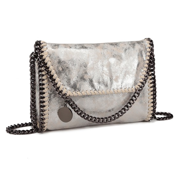 E6844 - Miss Lulu Leather Look Chain Fold-over Shoulder Bag - Silver