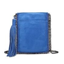 E6845-MISS LULU PU LEATHER CHAIN SHOULDER BAG WITH TASSEL ORNAMENT BLUE