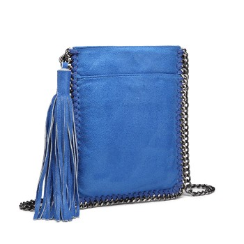 E6845-MISS LULU PU LEATHER CHAIN SHOULDER BAG WITH TASSEL ORNAMENT BLUE