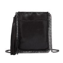 E6845-MISS LULU PU LEATHER CHAIN SHOULDER BAG WITH TASSEL ORNAMENT BLACK