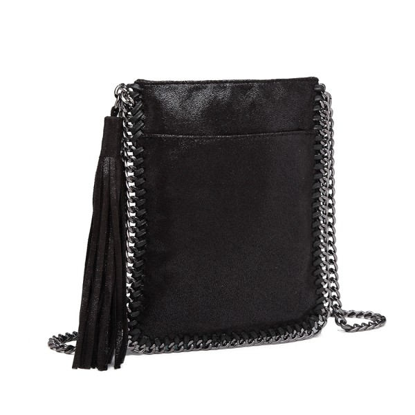 E6845 - Miss Lulu Leather Look Chain Shoulder Bag with Tassel Pendant - Black