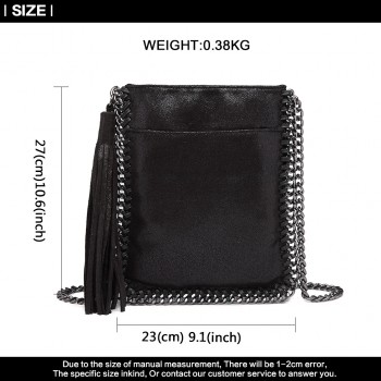 E6845-MISS LULU PU LEATHER CHAIN SHOULDER BAG WITH TASSEL ORNAMENT BLACK
