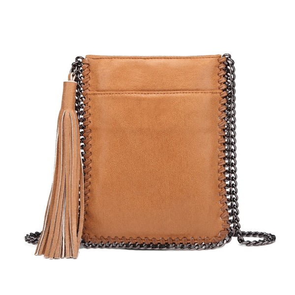 E6845 - Miss Lulu Leather Look Chain Shoulder Bag with Tassel Pendant - Brown