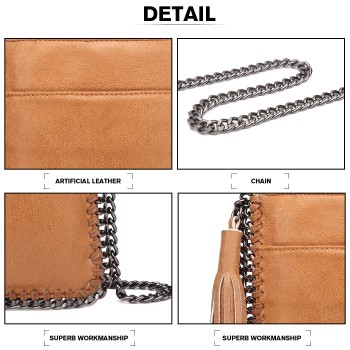 E6845-MISS LULU PU LEATHER CHAIN SHOULDER BAG WITH TASSEL ORNAMENT BROWN