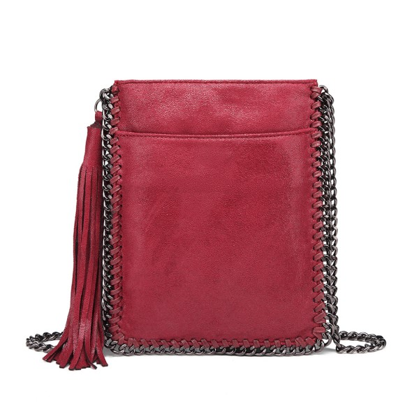 E6845 - Miss Lulu Leather Look Chain Shoulder Bag with Tassel Pendant - Burgundy